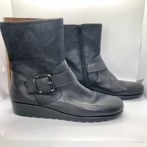 AEROSOLES House Party Black Zip Calf Boots-8.5